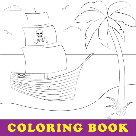 Children coloring book. Pirate ship on the seashore. Pirates of the Caribbean. Palm and sea coast
