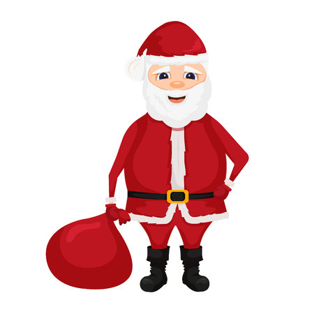 Santa Claus. Merry christmas and happy new year. Vector illustration.