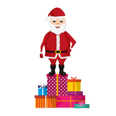 Santa Claus stand on gifts. Merry christmas and happy new year. Isolated vector illustration. Illustration