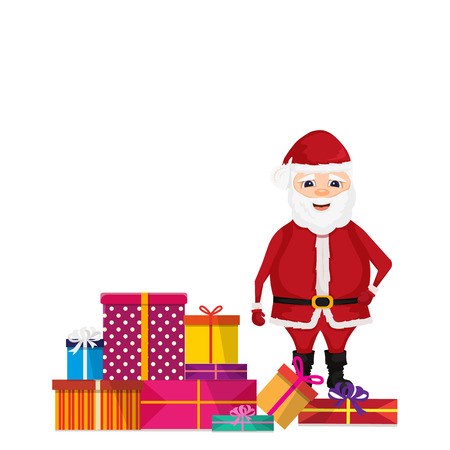 Santa Claus stand on stack of gifts. Merry christmas and happy new year. Isolated vector illustration.