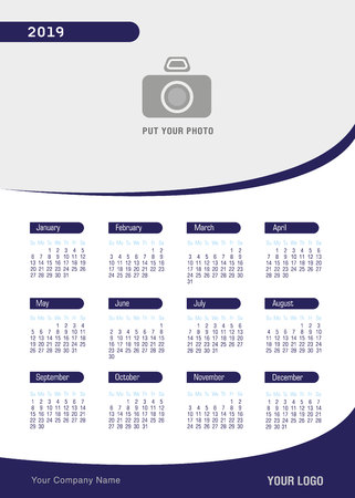 Calendar 2019 new year in clean minimal modern style , Week starts from Sunday. Corporate business vector template with empty place for your photo.