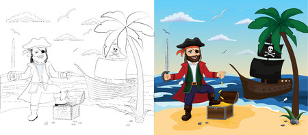 Children coloring book with example of painted image. Pirate stands with treasure chest. Pirate ship on the seashore. Isolated outline vector illustration Illustration