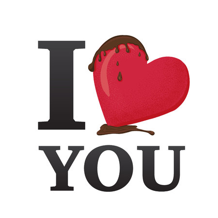 I love you. Concept vector illustration. Sign for t-shirt, card valentine day, banner. Sweet candy heart with chocolate