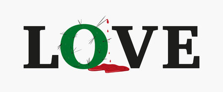 Concept love slogan. Vector illustration. Sign for t-shirt, card valentine day, banner. The letter O in shape of cactus with long needles from which blood flows. love is pain