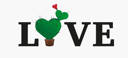 Concept love slogan. Vector illustration. Sign for t-shirt, card valentine day, banner. heart shaped potted cactus