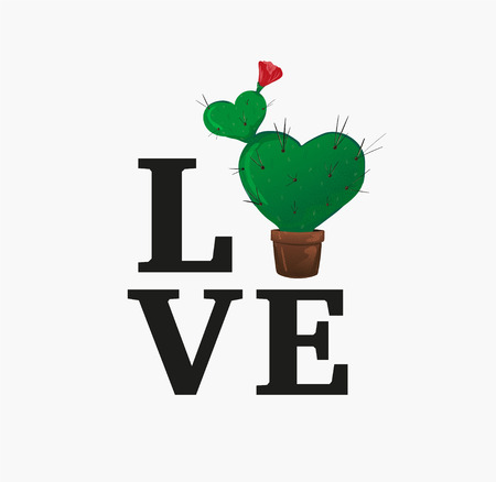 Concept love slogan. Vector illustration. Sign for t-shirt, card valentine day, banner. heart shaped potted cactus with long needles