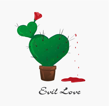 Concept evil love. Vector illustration. Sign for t-shirt, card valentine day, banner. Cactus in the form of a heart with a flower bleeds. blood dripping from long needles