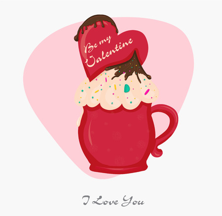 Love postcard. Dessert in a mug with whipped cream and candy hearts with an inscription Valentine's Day