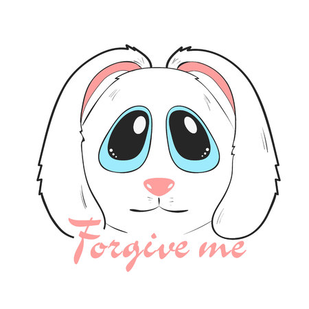 Forgive me card with adorable cute bunny. cartoon character of rabbit with apologize. Isolated vector 向量圖像