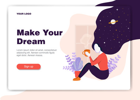 Web page design template for cafe, wellness, natural products, cosmetics. Modern vector illustration concepts for website and mobile app development. Girl dream with cup of coffe near window Illustration