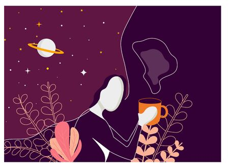 Vector illustration of cute girl drinking coffee or tea Illustration