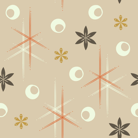 Elegant mid-century inspired seamless floral and stars pattern. Vintage chocolate themed print for fabrics, gift wrap, stationery, interior design.