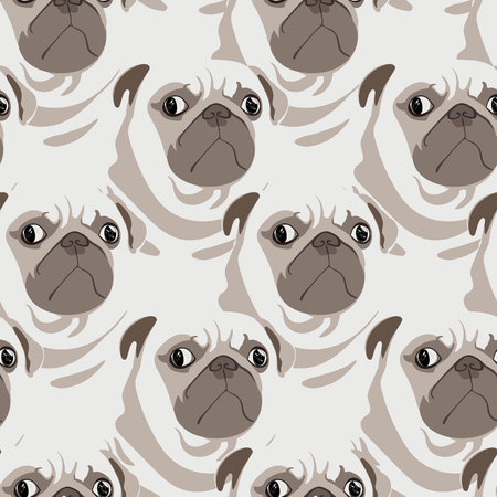 Cute staring pugs seamless pattern. Pop-illustration of rotund pugs with an attitude. Dog themed pattern for fabrics, children, wall hangings, gift wrapping, stationery, and interior design.