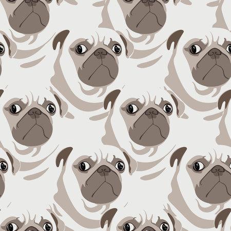 Lindo pugs mirando de patrones sin fisuras. Ilustración pop de pugs rotundos con actitud. Patrón de temática de perro para telas, niños, tapices de pared, envoltura de regalos, papelería y diseño de interiores. Ilustración de vector