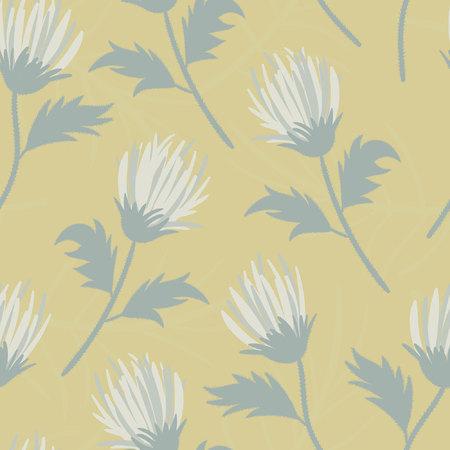 Cute pastel dandelion vintage inspired seamless pattern.