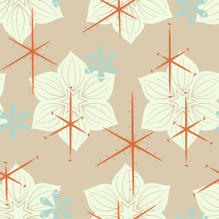Elegant mid-century inspired seamless floral pattern. Vintage themed print for fabrics, gift wrap, stationery, interior design.