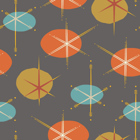 Elegant mid-century inspired seamless outer space pattern. Vintage themed print for fabrics, gift wrap, stationery, interior design.