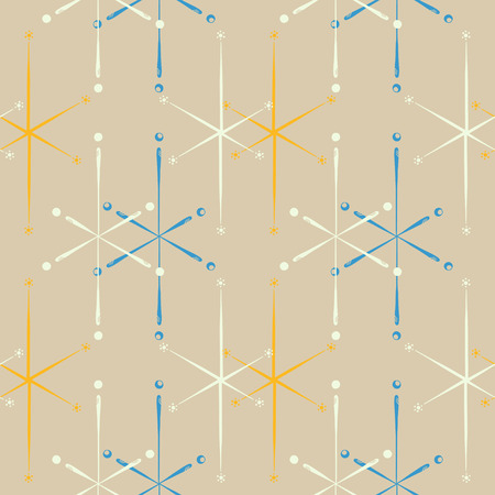 Elegant mid-century inspired seamless star pattern. Vintage themed print for fabrics, gift wrap, stationery, interior design.