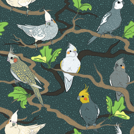 Cute cockatiel jungle seamless pattern. Pop-illustration of cute birds and tropical leaves. Animal themed pattern for fabrics, children, wall hangings, gift wrap, stationery, and interior design.