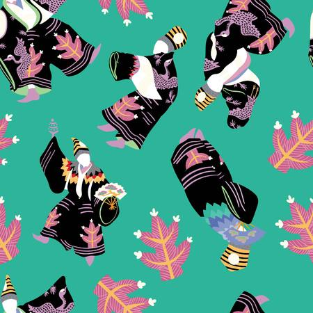 Dancing Japanese sanbaso illustrated seamless pattern by www.danmaridesigns.com. Festive Japanese theater characters & 80s inspired pop-art for fabrics, gift wrapping, stationery, and interior design.