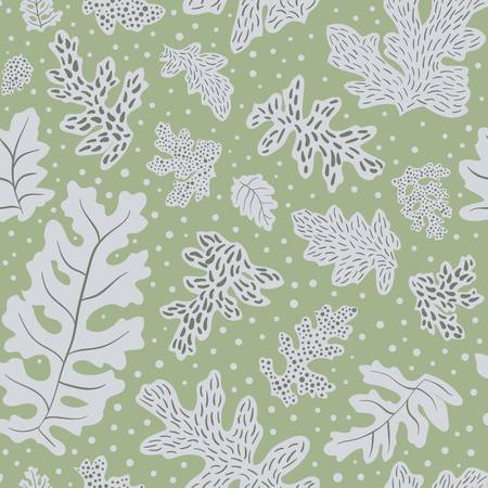Silver brocade sage seamless illustrated pattern by www.danmaridesign.com. Nature inspired leafy art for fabrics, gift wrapping, stationery, kids, party and interior design.