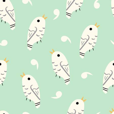 Cute Japanese inspired spring birds illustrated pattern by www.danmaridesigns.com for art for children, fabrics, gift wrap, stationery, and interior design.