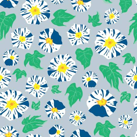 Japanese inspired floral seamless illustrated pattern by www.danmaridesigns.com. Natural springtime art for fabrics, gift wrap, stationery, and interior design. 向量圖像