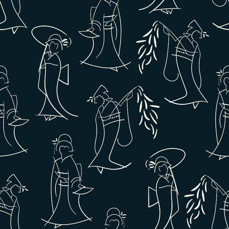 Dancing Spring Geisha Abstract Illustrated Pattern