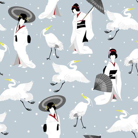 Japanese Winter Cranes & Geisha Seamless Illustrated Pattern