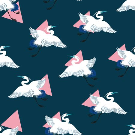 Japanese Festive Cranes 80's Pop Art Pattern