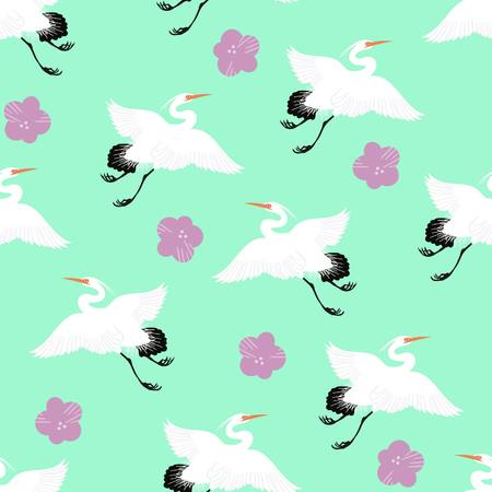 Japanese cranes and cherry blossoms seamless illustrated pattern for fabrics, parties, interior design, stationery.