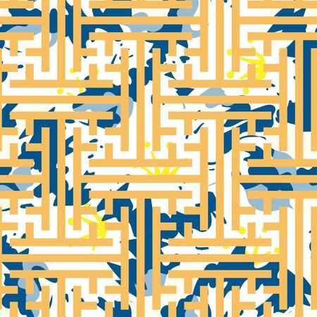 Bold abstract, pop art inspired key & floral seamless illustrated pattern.