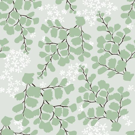 Delicate maiden hair fern inspired seamless illustrated pattern for fabrics, gift wrap, stationery, and interior design.