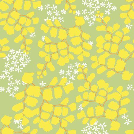 Maiden Hair Fern seamless illustrated pattern