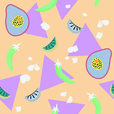 Taco inspired pop art seamless illustrated pattern! Tasty & colorful print perfect for restaurants, parties, fabrics, stationery, and more! Illusztráció