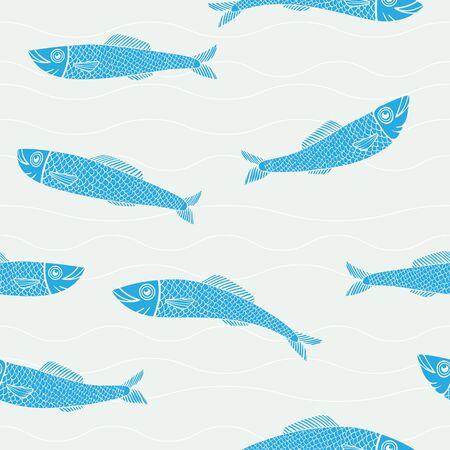 Cute ocean sea life seamless illustrated stamp pattern. Illusztráció
