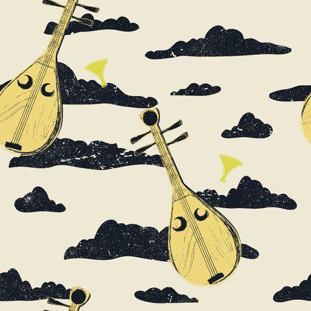 Vintage-style illustrated Japanese lute (biwa) musical vector pattern.