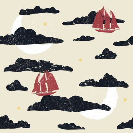 Whimsical flying sailboats seamless illustrated pattern.