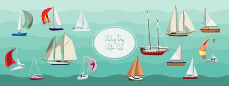 Sailboats in Sweden summer sailing vector pack for brochures, party, websites, posters, and more.