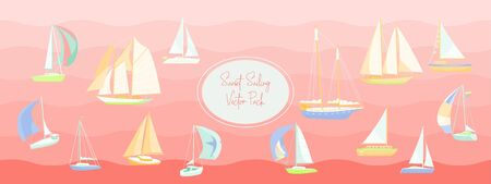 80s sunset sail boat party vector sticker pack.