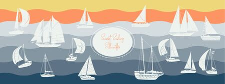 Sunset sailing white silhouette vector pack.