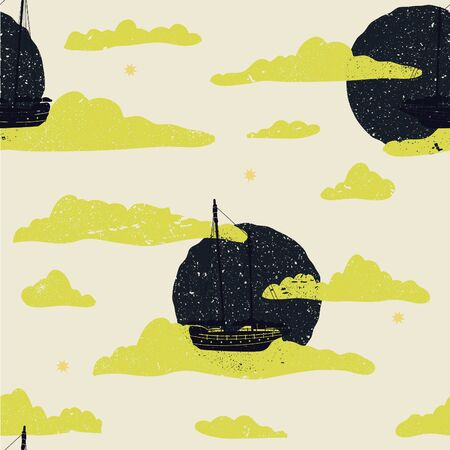Cute storybook inspired seamless illustrated pattern of flying ships.  イラスト・ベクター素材