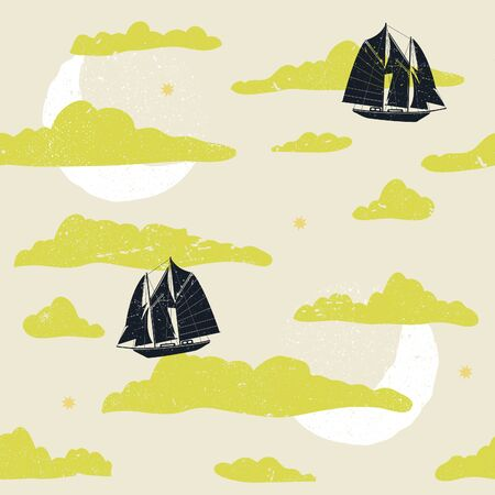 Cute storybook inspired seamless illustrated pattern of flying ships. Illusztráció