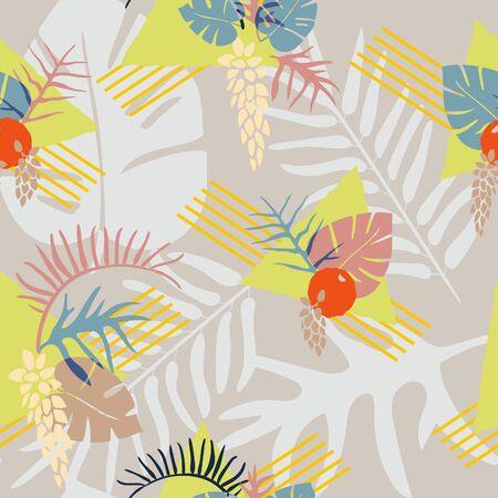 Fun and fresh retro-inspired tropical fashion print. Illusztráció