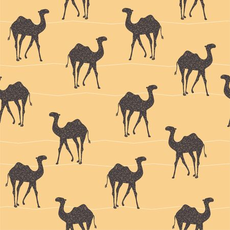 Moroccan desert camel silhouette seamless illustrated pattern.