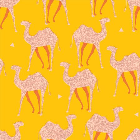 Moroccan desert camel seamless pop art pattern.