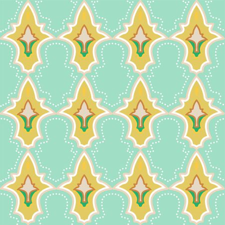 Colorful Moroccan tile-inspired seamless illustrated pattern. Illustration