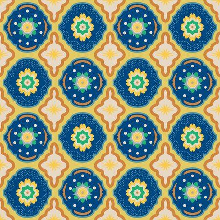 Colorful Moroccan tile-inspired seamless illustrated pattern. Illusztráció