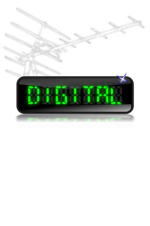 Illustration of an LCD display with the word digital in glowing green letters with reflection below and modern digital Tv aerial above