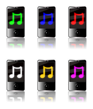 Illustration of six generic touch screen MP3 players isolated on a white background with a luminous musical note symbol on each screen in various colors with reflections below.
